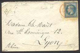"""29) N° 29 Empire Lauré. Pris SC En Rouge Du 8/01/1871 Pour Lyon Par Ballon """"Le Duquesne"""" Signée J.F. Brun - Marcophilie (Lettres)"""