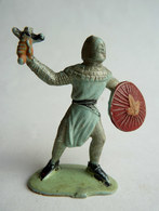 Figurine Guilbert MOYEN AGE CHEVALIER BOUCLIER ET GLAIVE  60's Pas Starlux Clairet Cyrnos, Incomplet - Starlux