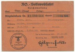 NS-Volkswohlfahrt Mitgliedskarte Weiden Oberpfalz 1939 - Documentos Históricos