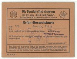 Deutsche Arbeitsfront Ersatz-Ausweiskarte AEG Fabrik Stuttgart Cannstatt Um 1940 - Documentos Históricos