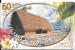 CARTE-PUCE-POLYNESIE-60U-PF118-GEMA-Fond De Puce Rouge-02/02-FARE 2/5000Ex-UTILISE-TBE-LUXE/+RARE - Frans-Polynesië