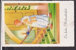 """Künstlerpostkarte G.Lampertz  Weihnachten , Teddybär , """" Gebühr Bezahlt """" Stempel Salzwedel  1948 - Weihnachten"""