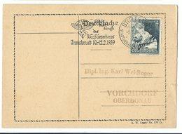 """Postkarte Blanko Werbestempel STUTTGART """"Ski-Wettkämpfe Des NS-Fliegerkorps Innsbruck 10.-12.2.1939 - Alemania"""