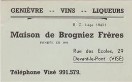 Maison De Brogniez Frères - VISE / Genièvres - Vins-Liqueurs. 1952 - Publicités
