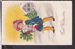 Postkarte  Weihnachten  Mädchen Mit Geschenken , Puppe 1927 ? - Weihnachten