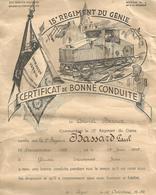Cerificat De Bonne Conduite 15 éme Regiment Du Génie 1938 - Vieux Papiers