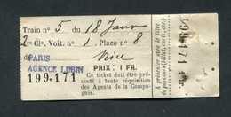 "Ticket Billet De Train (supplément) ""Paris - Nice / Agence Lubin / 1fr"" - Europe"