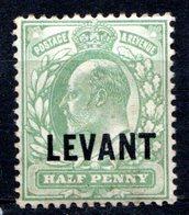 LEVANT - (Bureaux Anglais) - 1905 - N° 12 - 1/2 P. Vert-jaune - (Edouard VII) - (Surchargé : LEVANT) - Turkish Empire