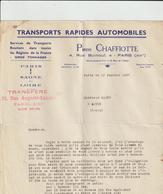 Amby -Facture De P  CHAFFIOTTE Transports Rapide Auto Et Routiers A PARIS 75   Adressé A Mr GAMBY A Autun 71 - Transport