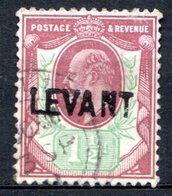 LEVANT - (Bureaux Anglais) - 1905 - N° 14 - 1 1/2 P.violet-brun Et Vert - (Edouard VII) - (Suchargé : LEVANT) - Turkish Empire