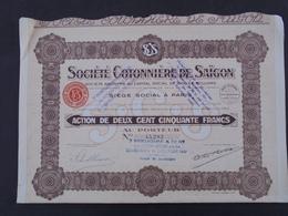 INDOCHINE, SAIGON - STE COTONNIERE DE SAIGON - ACTION DE 250 FRS - PARIS 1925 - LOT DE 2 TITRES - Acciones & Títulos