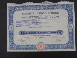 STE INDOCHINOISE DE PLANTATIONS D'HEVEAS - ACTION 5000 FRS - ABIDJAN, COTE D'IVOIRE - Aandelen