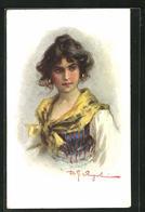 Künstler-AK Sign. D. G. Vingiolini: Hübsche Junge Frau In Tracht Mit Ohrringen - Illustrators & Photographers