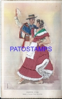 117590 CHILE ART EMBROIDERED COSTUMES COUPLE HUASOS POSTAL POSTCARD - Chile