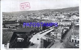 117594 CHILE VALPARAISO VIEW PANORAMA & TRAMWAY TRANVIA CIRCULATED TO ARGENTINA POSTAL POSTCARD - Chile