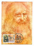 Macedonia Art Science Leonardo Da Vinci Mona Lisa With Vitruvian Man Postmark MAXI CARD - Celebrità