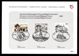 SWITZERLAND/FRANCE/BELGIUM 1994 Georges Simenon: Joint First Day Card CANCELLED - Svizzera