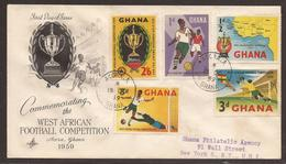 GHANA. 1959. FOOTBALL SET. REGISTERED FIRST DAY AIR MAIL COVER. - Ghana (1957-...)