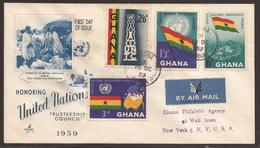 GHANA. 1959. UN SET. REGISTERED FIRST DAY AIR MAIL COVER. - Ghana (1957-...)