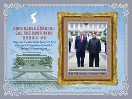 IN STOCK: North Korea 2019 DPRK-US Sumit Meeting At Panmunjom  Kim Jong-un And Trump Perf  Souvenir Sheet - Korea (Nord-)