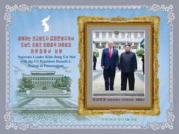 IN STOCK: North Korea 2019 DPRK-US Sumit Meeting At Panmunjom  Kim Jong-un And Trump IMPERF  Souvenir Sheet - Corea Del Nord