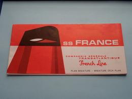 """S.S. FRANCE > PLAN Miniature DECK Plan > Compagnie Générale Transatlantique """" FRENCH LINE """" > Printed 1969 ! - Barcos"""