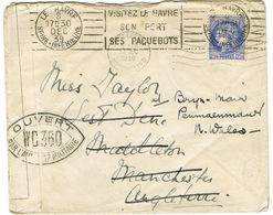 CENSURE WC360 SUR COURRIER ADRESSE DU HAVRE A MANCHESTER - Marcophilie (Lettres)