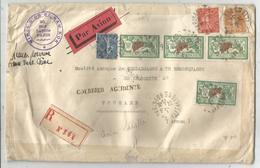 MERSON 10FRX4+SEMEUSE 25C+50C+1FR LETTRE AREC AVION PARIS 1929 ANNAM INDOCHINE COURRIER ACCIDENTE + MINES D'OR NAM KOK - Marcophilie (Lettres)