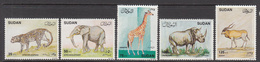 1990 Sudan Mammals Elephant Rhino Leopard Cats Complete Set Of 5  MNH - Sudan (1954-...)