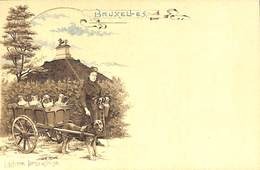 Bruxelles - Carte Litho Laitière Bruxelloise, Attelage Chien Waterloo, Précurseur, Colorisée - Belgique