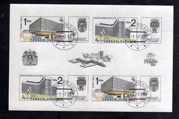 CZECHOSLOVAKIA CESKOSLOVENSKO CECOSLOVACCHIA 1988 PRAGA 88 PRAHA BLOCK SHEET USED FIRST DAY MODERN ARCHITECTURE PRAGUE - Blocchi & Foglietti