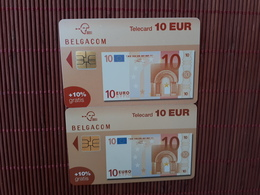 2 Different Phonecards  Banknote FH30.06.2005+GH 30.06.2005 Belgium Used Rare - Avec Puce