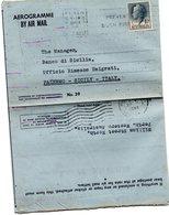AEROGRAMME BY AIR MAIL BY WESTERN AUSTRALIA TO SICILY - 1952-65 Elizabeth II : Pre-Decimals
