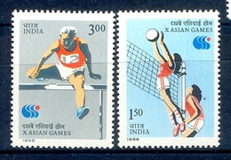 B129- India 1986. X Asian Games. Sports, Volleyball, Athletics. - Unused Stamps