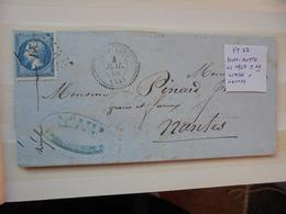 Francia. Marcophilie. YT 22 Isolé. Description. 3 Photos - Postmark Collection (Covers)