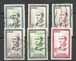Marocco 1956/57 = 6 Stamps From Set Michel 408 - 414 Mohammed V O - Marokko (1956-...)