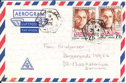 Tunisia Aerogramme Sent To Denmark 25-10-1976 - Tunisia