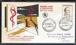 FDC 1958 - 1142 Grands Médecins: Philippe PINEL, Médecin Aliéniste - FDC