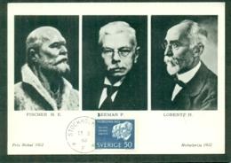 CM-Carte Maximum Card # 1963-Suède-Sweden # Célébrités # Prix Nobel, Nobelpreis,Nobel Prize , Fischer,Zeeman,Lorentz # - Cartes-maximum (CM)