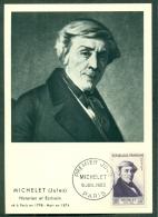 CM-Carte Maximum Card #1953-France # Célébrités # Jules Michelet # Écrivain,writer,Schriftsteller # Historien,historian. - Cartoline Maximum