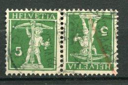 14166 SUISSE  N°136a° (Yvert)  10c. Vert     1910   B/TB - Tete Beche