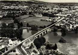 CPSM Grand Format  SAINT AMAND MONTROND  Cher Pont Du Cher Vue Aérienne  RV Combier - Saint-Amand-Montrond