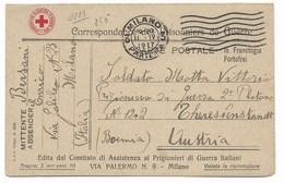 PRIGIONIERI DELLA GRANDE GUERRA - DA MILANO A AUSTRIA - 12.4.1817 - CROCE ROSSA. - 1900-44 Vittorio Emanuele III