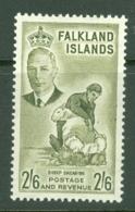 Falkland Is: 1952   KGVI   SG182    2/6d      MH - Falklandinseln