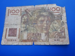 """Billet De Banque - Bank De France: Valeur 100 Fr.- Thème """" Jeune Paysan """" Année 1946  état  Voir Les Photos - 1871-1952 Antichi Franchi Circolanti Nel XX Secolo"""