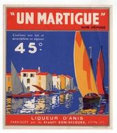 """ETIQUETTE-  LIQUEUR  D'ANIS  """"UN  MARTIGUE"""" - Etiquettes"""