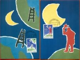 CM-Carte Maximum Card # 1991-Hollande-Nederland # Europa  CEPT # Espace,,Space,Weltraum #  (2) - Europa-CEPT