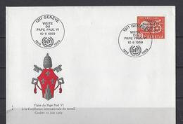 Suisse: Service 436 Sur FDC (Visite Du Pape Paul VI Le 10-6-1969) - Papi