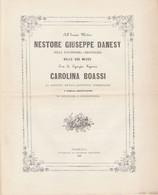 Antico Sonetto NESTORE GUSEPPE DANESY Per Le Sue Nozze Con CAROLINA BOASSI 1886 - Partituren