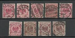 Deutsches Reich 1889 Lot 9 Marken Michel 47 & 50 & 51 O Grimmitschau Strassburg Mainz Hamburg Leipig Usw - Deutschland